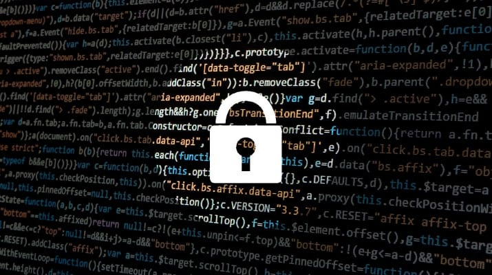 Padlock over lines of data codes to show protection of data