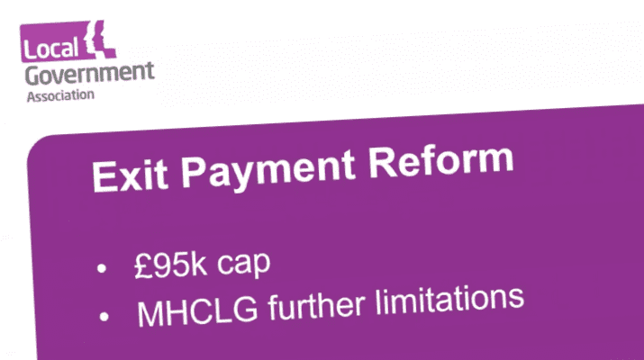 Purple graphic with text about Exit payment reform