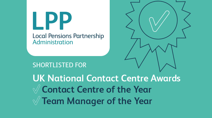 Graphic stating LPPA is nominated for two National UK Contact Centre Awards